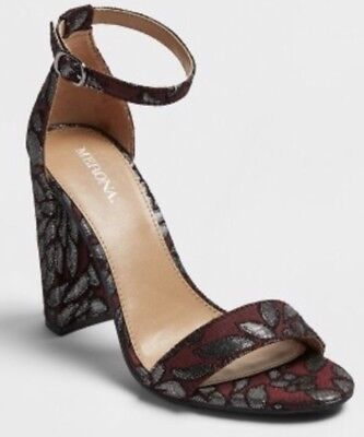aa0cc9264ee NEW WOMEN S LULU Brocade Block Heel Sandal Pumps - Merona Burgundy ...