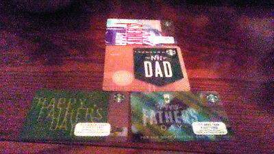 2 New Starbucks 2018 Happy Fathers Day Gift Cards  + 2016 & 2017 Cards Free
