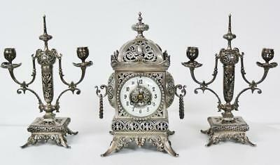 Rare Antique 19thc French 8 Day Silvered Pierced Bronze Cube Mantel Clock Set
