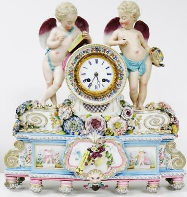 Amazing Antique French 8 Day Hand Painted Porcelain Cherub Figural Mantel Clock