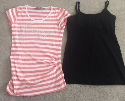 Size 8 Nursing Strappy Top Black And Mummy To Be Tshirt, Maternity Bundle