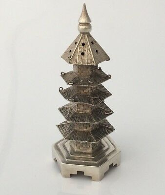 Antique Chinese Export Solid Silver Novelty Pagoda Pepper Pot(R2934)