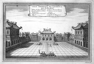 ca. 1750 China Temple Tempel Kaisersaal imperial hall Kupferstich antique print