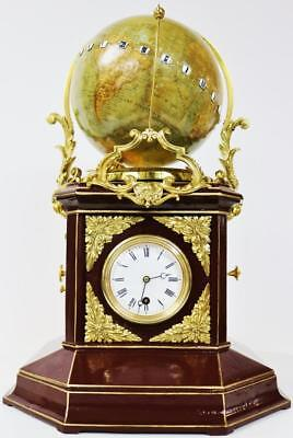 Rare Antique French Automaton Terrestrial World Time Globe Mystery Table Clock