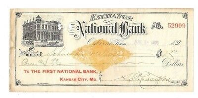 Antique 1899 ~ EXCHANGE NATIONAL BANK  ~ OSBORNE, KANSAS
