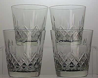 """Cut Glass Crystal Drinking Tumblers Glasses Set Of 4 - 3 1/2"""" Tall"""