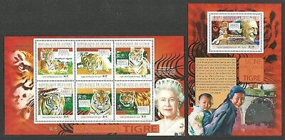Guinea 2010 Chinese New Year Of Tiger Royalty Queen Eliabeth Set Of 2 M/sheets