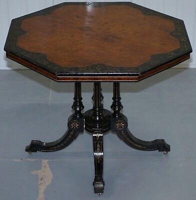 Aesthetic Movement Victorian Burr Walnut & Ebonised Octagonal 4 Pillared Table