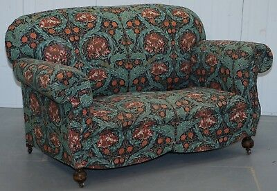 Victorian Drop Arm Club Sofa In William Morris Upholstery Fabric Part Of A Suite