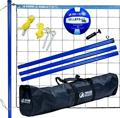 Volley Sport Portable Outdoor Steel Volleyball Net System Park & Sun Bag Blue