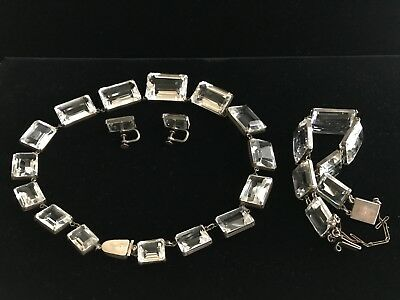 Antique 1950's Art Deco  White Crystal Cut Solid Silver Jewelry Set