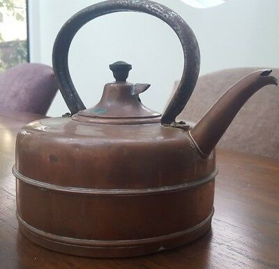 * Old Used Masters All Copper Bolling Whistling Kettle Put The On Hot Water Tea