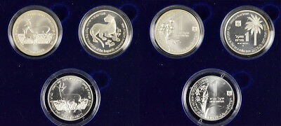 "1992, 93, 94 Israel ""holy Land Wildlife"" / Song Of Solomon 1Ns 3-Coin Silver Set"