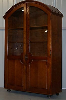 Rare W.a.page Stamped Solid Mahogany Bow Topped With Glass Door Bookcase Cabinet
