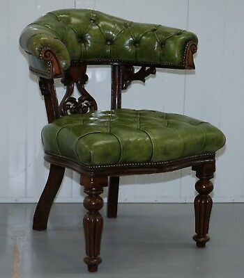 Victorian Horseshoe Back Chesterfield Green Leather Captains Reading Chair