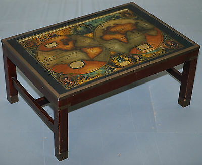 Stunning Solid Wood Campaign Map Antique Style Coffee Table Brass Detailing