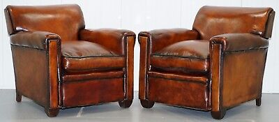 Stunning Pair Of Antique Edwardian Hand Dyed Cigar Brown Leather Club Armchairs