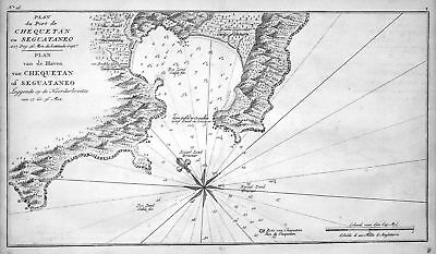 1749 Zihuatanejo Mexico puerto mapa map Kupferstich antique print Anson
