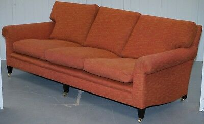 Rrp £11000 George Smith Signature Full Scroll Arm Loose Back Feather Filled Sofa