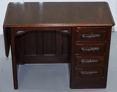 Rare Edwardian Solid Oak Children's Desk With Extending Flap & Pc Mouse Board
