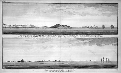 1749 Petaplan Quibo Quicara Mexico costa view Kupferstich antique print Anson