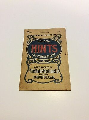 1922 Helpful Hints For Housekeepers By Dodd'S Medicne Toronto, Ontario