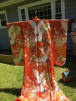 Rare double flying cranes Japanese wedding kimono uchikake Beautiful stitchwork.