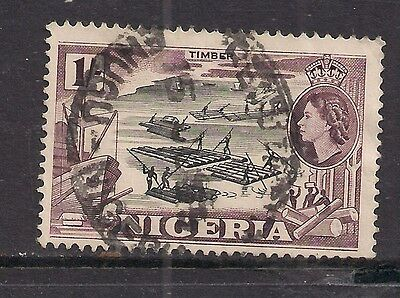 NIGERIA 1953 QE2 1/- used stamp ( B1083 )