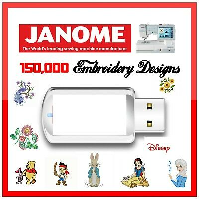 150,000 Janome Embroidery Designs files Library JEF Format Cards  on USB Drive
