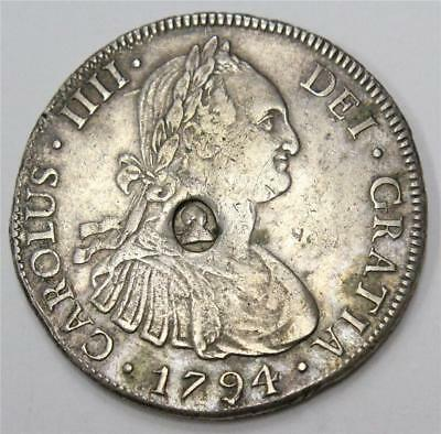 George III countermark Bank of England Dollar 1794 Bolivia 8 Reales S3765A VF25
