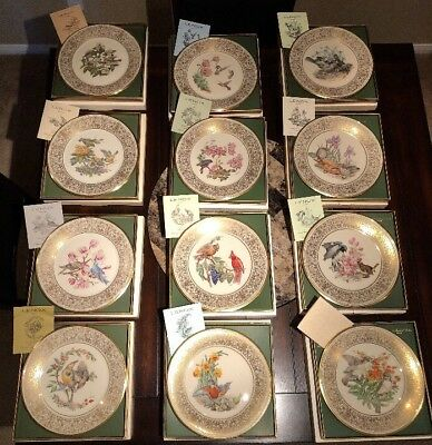 Set 1970-1981 Lenox/Boehm Bird Plates China-Crystal 24kt Gold All New In Boxes