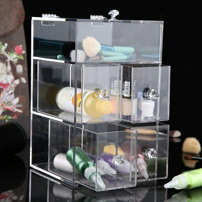 Beautify 3 Tier Clear Acrylic Cosmetic Makeup Organiser Storage Box 4 Drawers