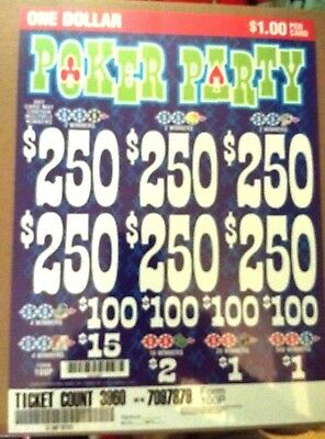 """Window Pull Tab Tickets 3,960 ct. """"Poker Party"""" $1.00 Pull Tabs"""