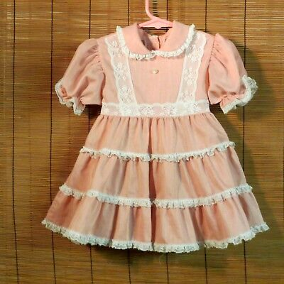Vintage Mini World Girls Party Dress Pink & White 3 T