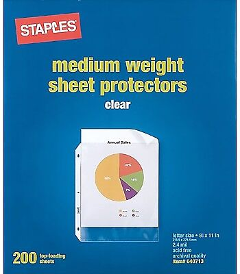 Staples Clear Sheet Protectors///200 Sheets///FREE SHIPPING