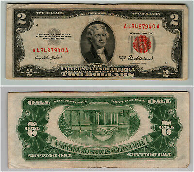 1953A $2 Dollar Bill Old Us Note Legal Tender Paper Money Currency Red Seal Z580
