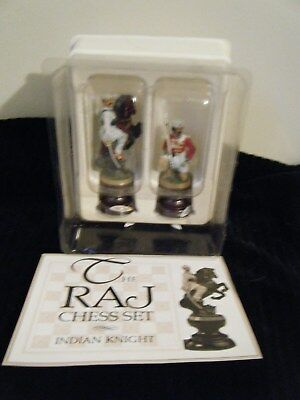 Franklin Mint The Raj Chess Set Pieces Indian Knight & Solder Pewter