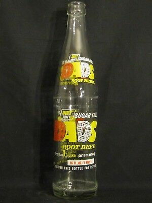 """Dads """"Diet"""" Root Beer (O, W & Y) ACL Soda Bottle  16oz  1976  Sugar Free"""
