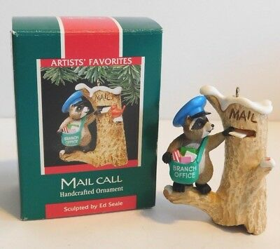 Hallmark Ornament 1989 Mail Call * Raccoon Delivering Mail  ** FREE SHIPPING  **