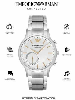 ba6dda83c4654 New Emporio Armani Connected Silver Stainless Steel Hybrid Smartwatch  ART3005