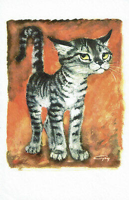 "Girard (Gig) Goodenow Cat Print ""Yard Boy"" 1962 on Textured Paper by Royal"