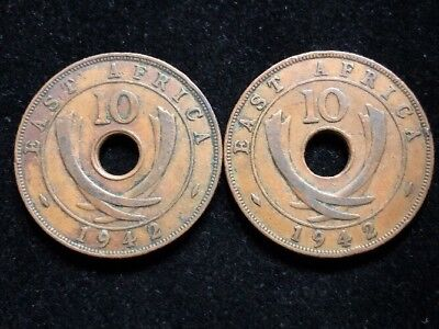 Two 1942 East Africa Large 10 Cents Coins Lot MH64
