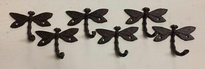 SET of 6 ARTISTIC DRAGONFLY HOOKS brown bronze finish cast iron coat robe hooks