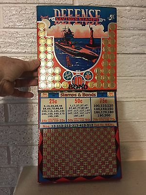"Punch Board ""Defense Savings Stamps"" Battleship Gambling Trade Stimulator WW2"