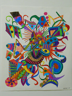 """Original Signed And Dated Ink Drawing """" Happiness """"."""