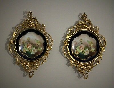 Pair of Antique MZ Austria Hand Painted Porcelain Plates in Gilt Wall Mounts