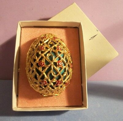 vtg ARDEN DECORATIVE METAL FILIGREE GILT EGG perfume bottle MOSELL FIGURAL BOX