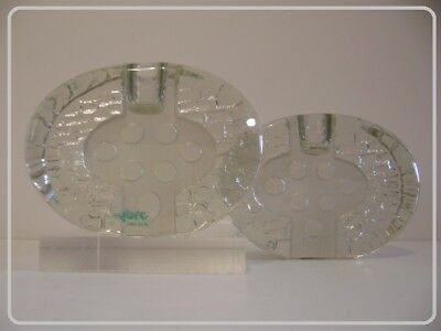 """DESIGN XXe : 2 VINTAGE 70' """"NYBRO - SWEDEN"""" candle holders with original label."""