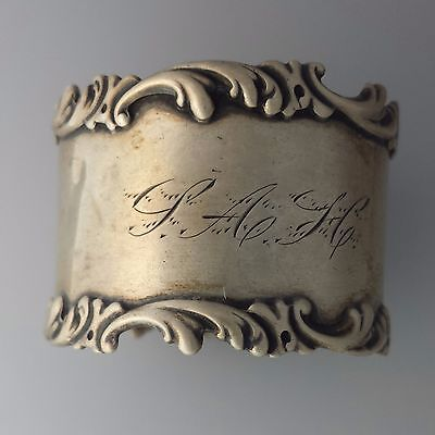 FRANK M WHITING Napkin Ring, Solid Sterling Silver holder, scroll stamped