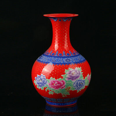 Chinese Porcelain Hand-Painted Peony Vase Mark As The Qianlong Period R1019